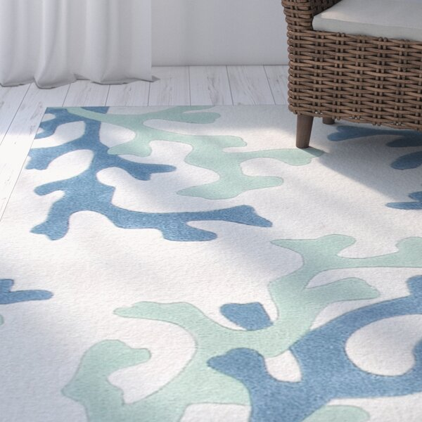 Parkmont Ivory & Blue Area Rug by Rosecliff Heights