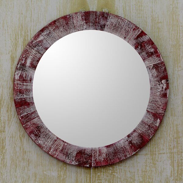 Rustic Round Wall Mirror by Novica