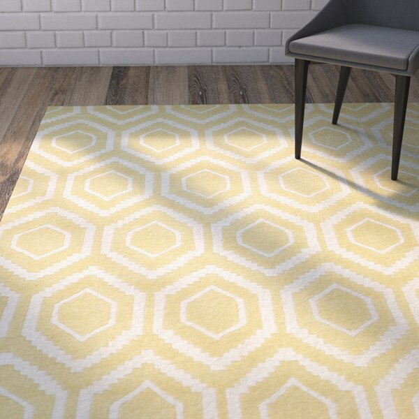 Vanderford Hand-Tufted Wool Light Gold/Ivory Area Rug by Wrought Studio