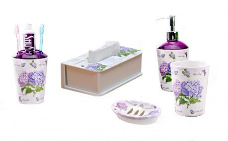 Melamine 5-Piece Bathroom Accessory Set by Shall Housewares International