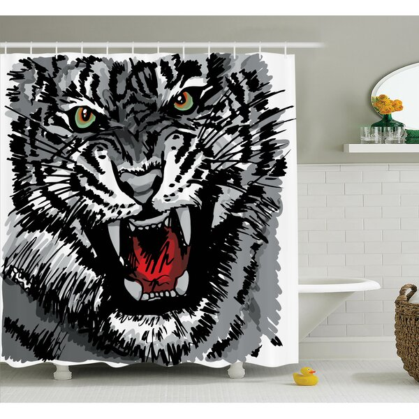Animal Roaring Tiger Art Shower Curtain Set by Ambesonne