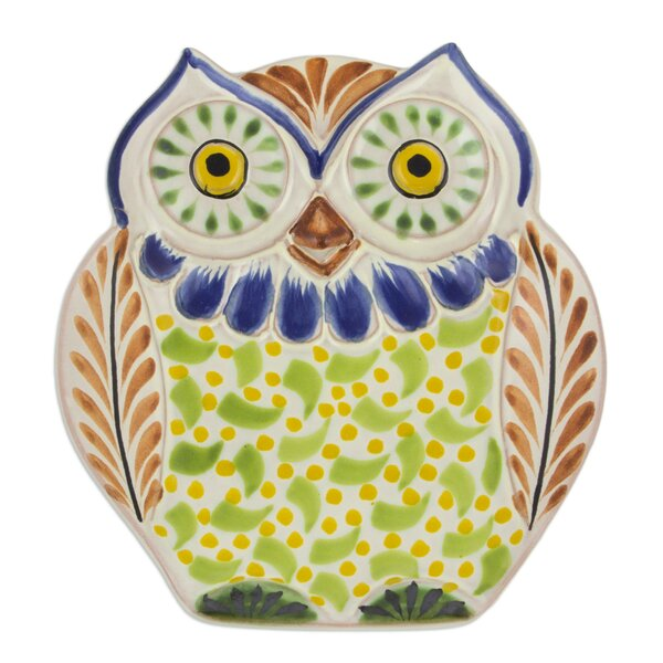 Owl Theme Hand-Crafted Majolica Ceramic Platter by Novica