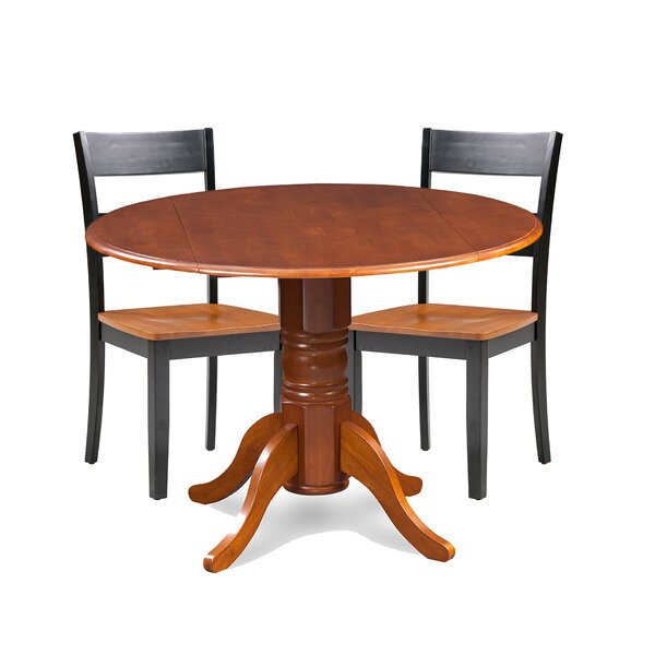 Cordell 3 Piece Drop Leaf Breakfast Nook Solid Wood Dining Set by Charlton Home