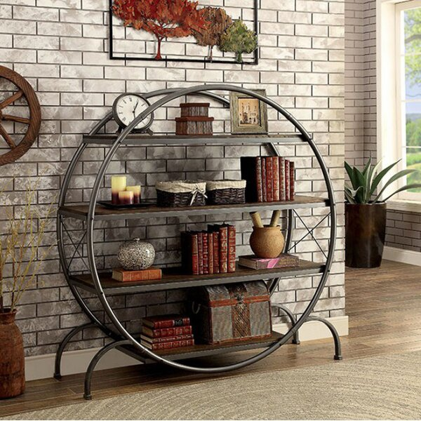 Lipinski Industrial Style Circle Etagere Bookcase by 17 Stories