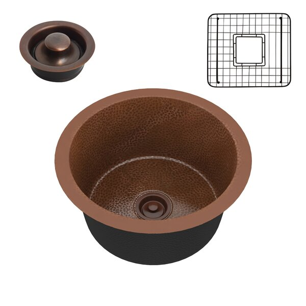 Thrace Handmade Copper 17 L x 17 W Drop-In Kitchen Sink with Basket Strainer