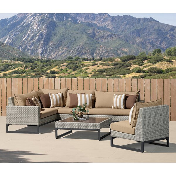 Bellingen 6 Piece Rattan Sunbrella Sectional Seating Group with Cushions by Latitude Run Latitude Run