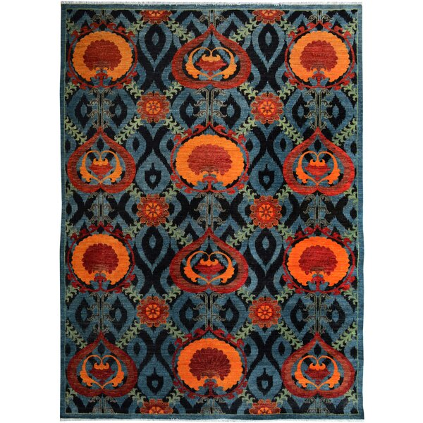 One-of-a-Kind Abelardo Peshawar Hand Knotted Wool Red/Blue Area Rug by Isabelline