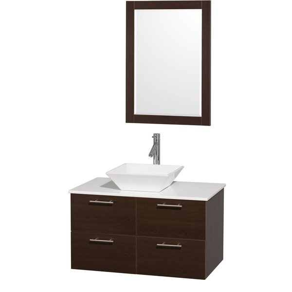 Amare 36 Single Espresso Bathroom Vanity Set with Mirror by Wyndham Collection