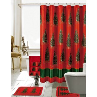 Christmas Bathroom Decor 18 Piece Nature/Floral Shower Curtain Set