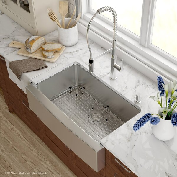 Handmade 30 x 16 Gauge Stainless Steel Kitchen Farmhouse 32.88 L x 20.75 W Undermount Kitchen Sink with Faucet by Kraus