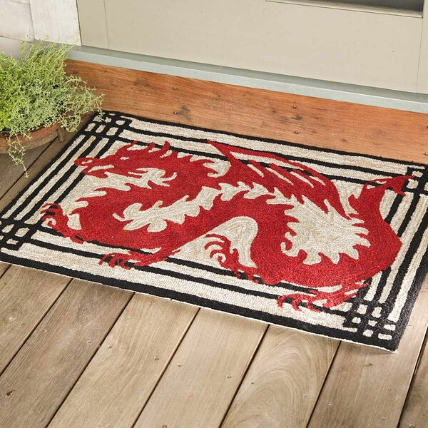 Dragon Hand-Tufted Red Indoor/Outdoor Area Rug by Wind & Weather