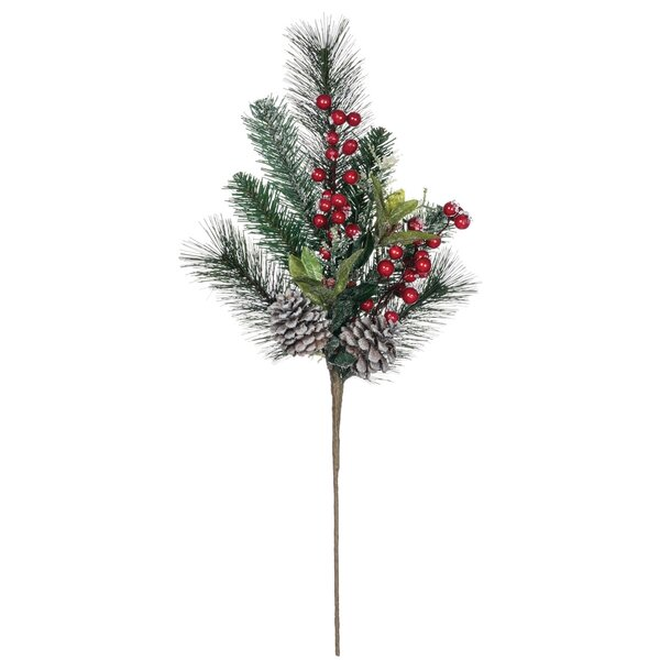 Flocked Pine, Cone with Berry Foliage Plant (Set of 2) by The Holiday Aisle