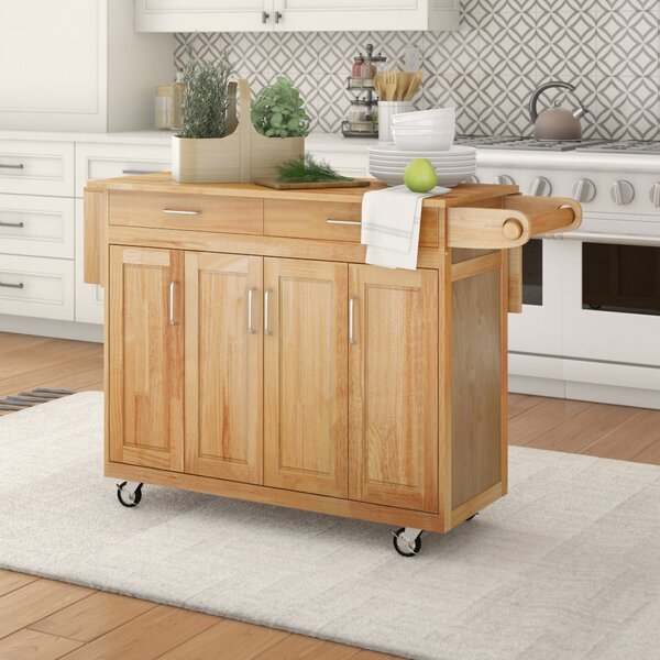Epping Kitchen Cart with Wood Top by August Grove