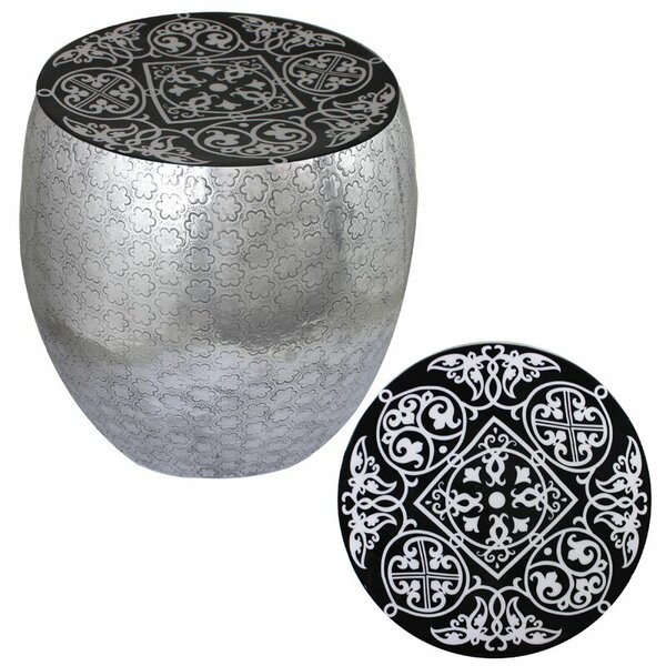 Micco Damask Art Metal Accent Stool by Bloomsbury Market