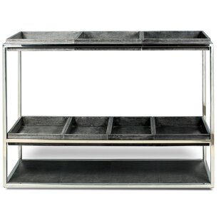 Leather Shagreen Trays Console Table