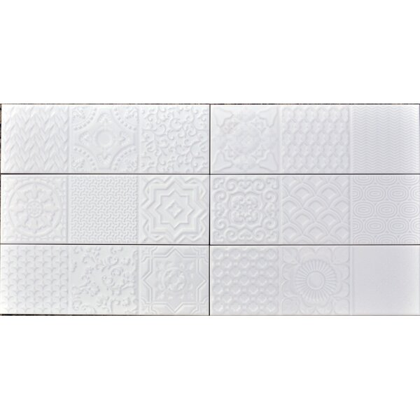 Countryside Deco 4 x12 Ceramic Subway Tile in Magnolia by The Bella Collection