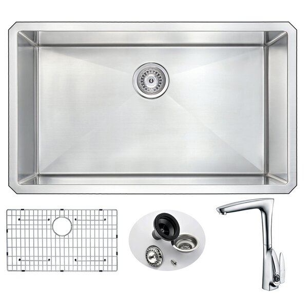 Vanguard 32 L x 19 W Single Bowl Undermount Kitchen Sink with Faucet by ANZZI