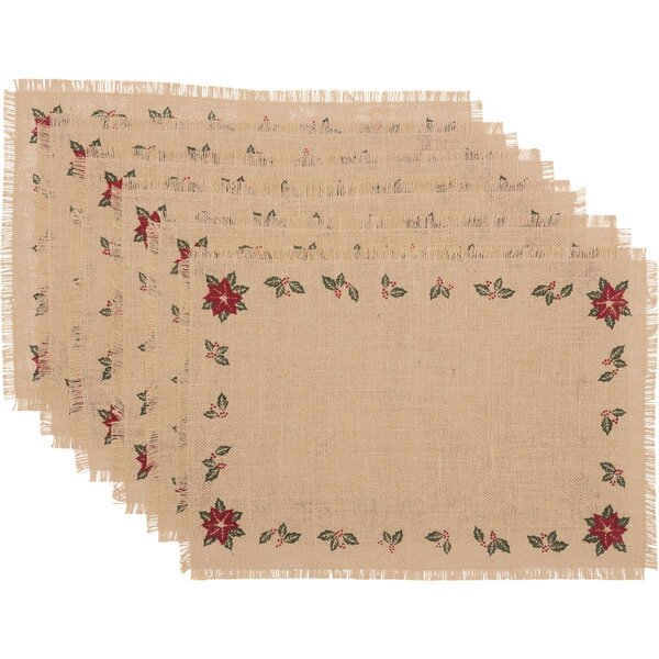 Altha Jute Burlap Poinsettia Placemat (Set of 6) by The Holiday Aisle