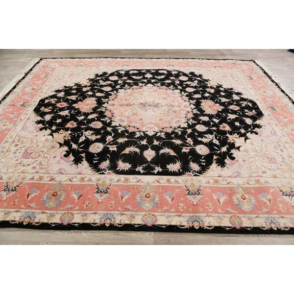 One-of-a-Kind Hand-Knotted New Age Tabriz Black/Red/Beige 8'2 x 9'10 Wool Area Rug