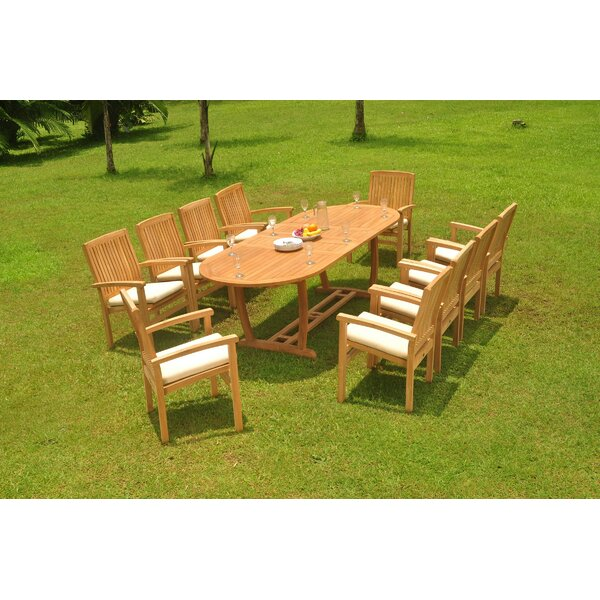 Polla 11 Piece Teak Dining Set by Rosecliff Heights