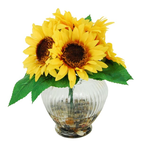 River Rocks and Sunflowers Floral Arrangements in Decorative Vase by LCG Florals