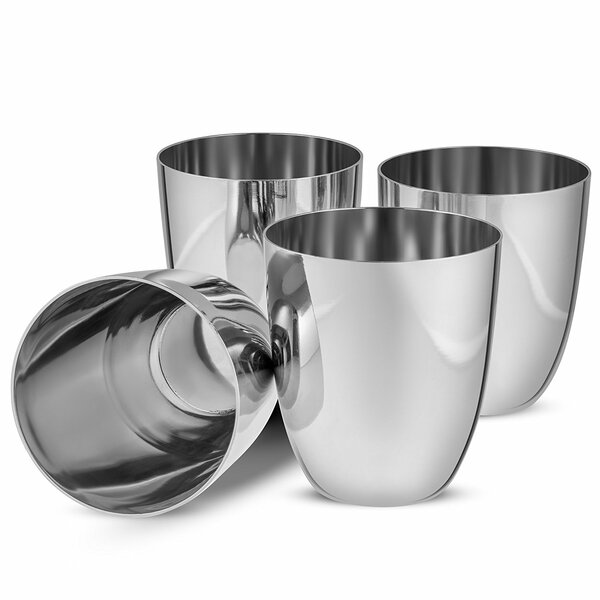 Oloughlin 12 oz. Stainless Steel Every Day Glass (Set of 4) by Ebern Designs