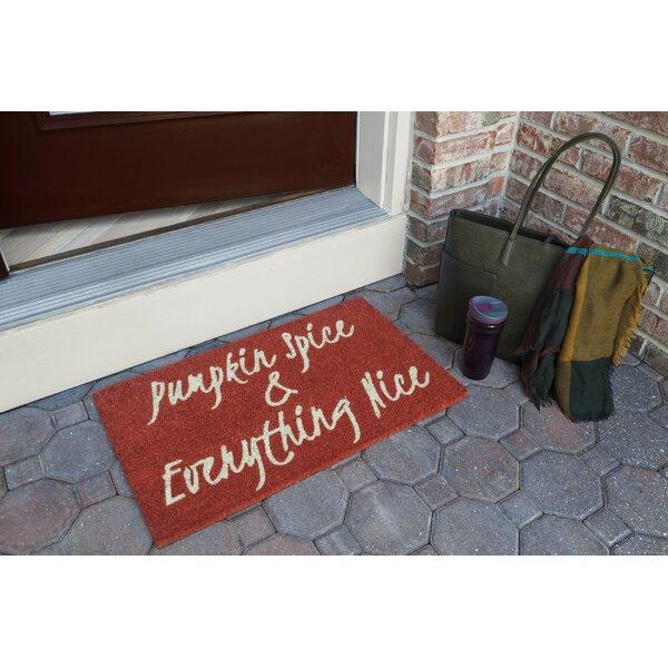 Cerritos Pumpkin Spice Non Slip Coir Doormat by The Holiday Aisle