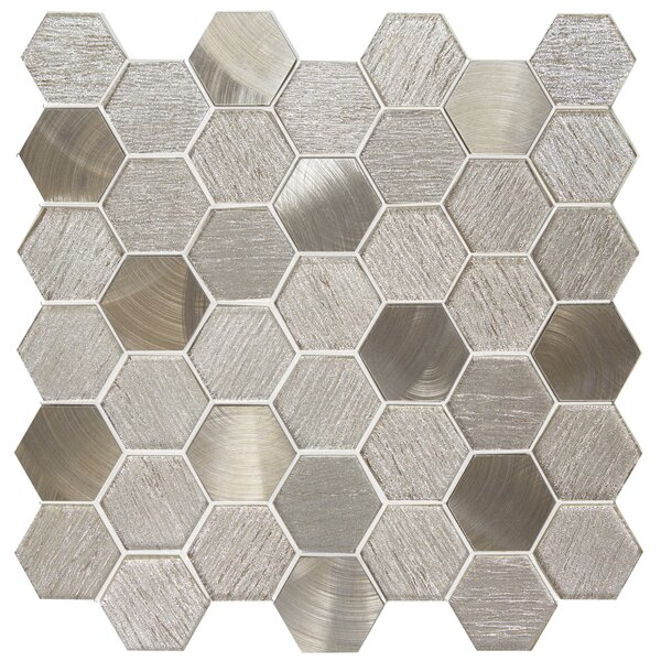 Glitz 2 x 2 Glass/Aluminum Mosaic Tile in Joy by Emser Tile
