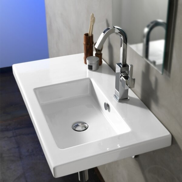 Condal Ceramic 32 Wall Mount Bathroom Sink with Overflow by Ceramica Tecla by Nameeks
