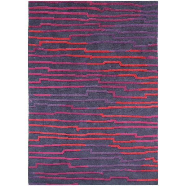 Thelma Hand-Knotted Wool Bright Red/Magenta Area Rug by Bloomsbury Market
