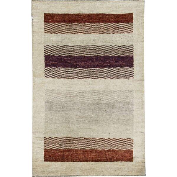 One-of-a-Kind Gabbeh Polka Dot Stripe Hand-Knotted Wool Cream/Dark Brown Area Rug by Bokara Rug Co., Inc.