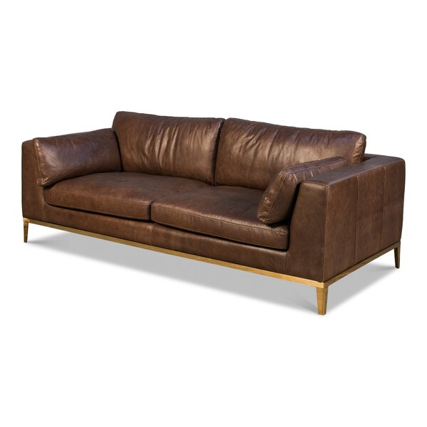 Massey Leather Sofa by 17 Stories