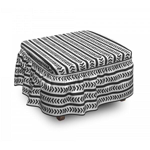 Stripes Arrow Shapes Ottoman Slipcover (Set Of 2) By East Urban Home