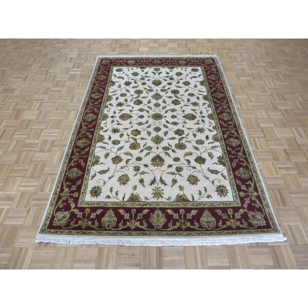 One-of-a-Kind Padro Hand-Knotted Wool Ivory/Red Area Rug by Bloomsbury Market