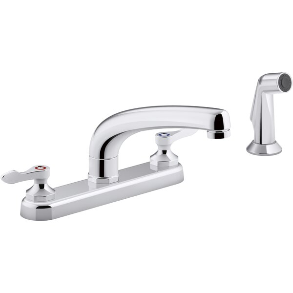 , 1.5 gpm Triton Bowe 1.8 gpm Kitchen Sink Faucet with 8-316 In. Swing Spout, Matching Finish Sidespray, Aerated Flow and Lever Handles