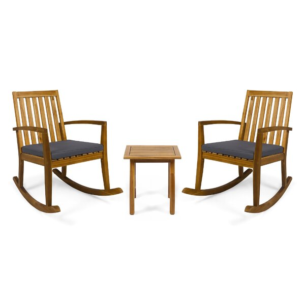 Brookport 3 Piece Teak Seating Group with Cushions by Union Rustic Union Rustic