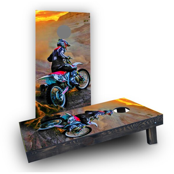 Riding Dirtbikes Cornhole Boards (Set of 2) by Custom Cornhole Boards