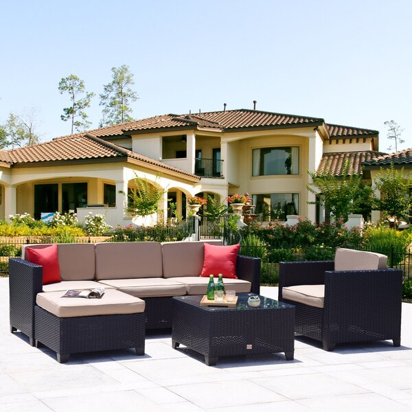 Penelope 6 Piece Rattan Sectional Set with Cushions by Ebern Designs