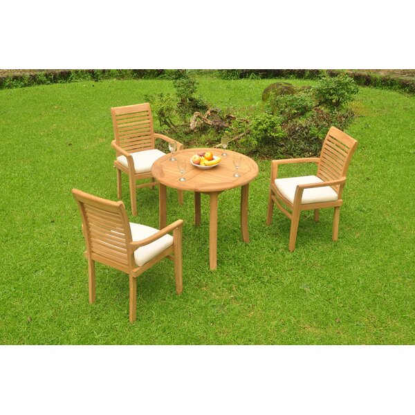 Howth Luxurious 4 Piece Teak Dining Set by Rosecliff Heights
