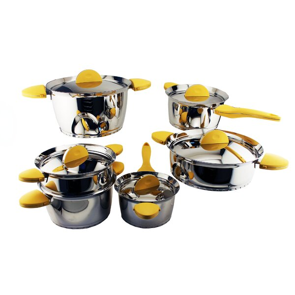 Stacca 11-Piece Non- Stick Stainless Steel Cookware Set by BergHOFF International