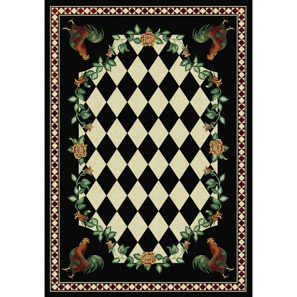 Novelty High Country Rooster Black Area Rug by American Dakota