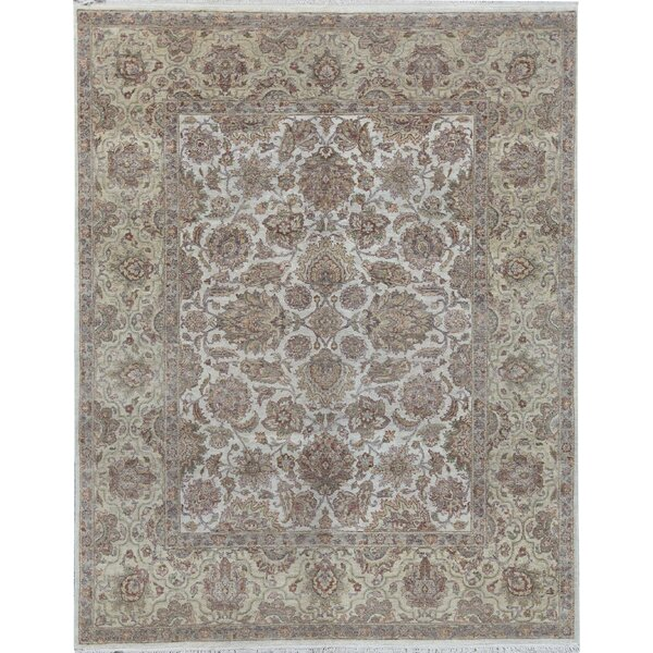 Oriental Hand-Knotted 8.1' x 10.2' Wool Ivory/Gold Area Rug