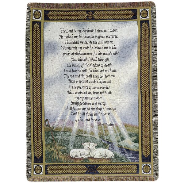 23rd Psalm Tapestry Cotton Throw by Manual Woodworkers & Weavers