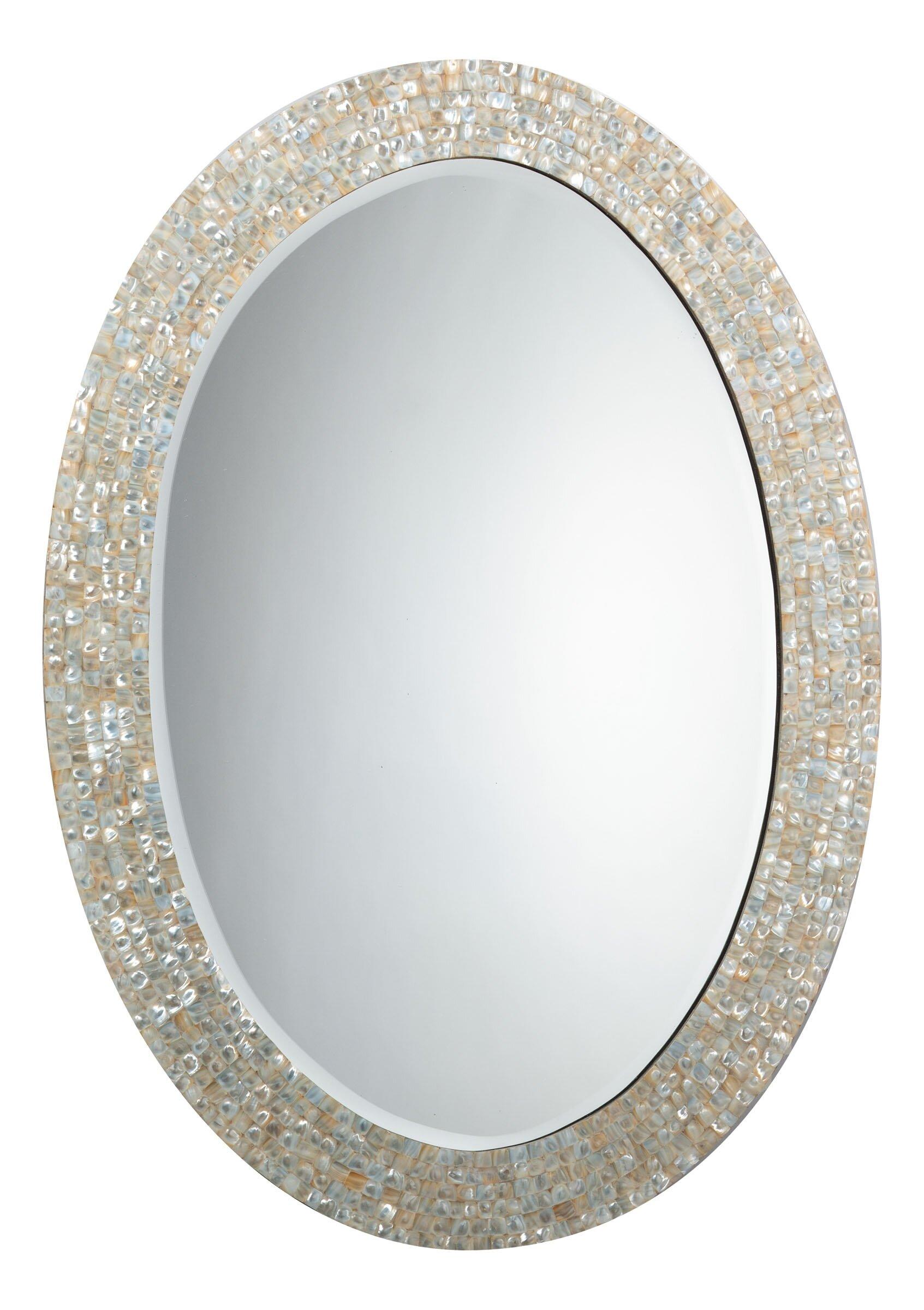 Highland dunes elsie oval mother of pearl mirror wayfair