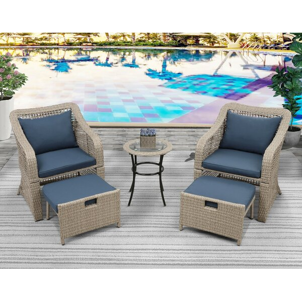 5 Piece Rattan Seating Group with Cushions
