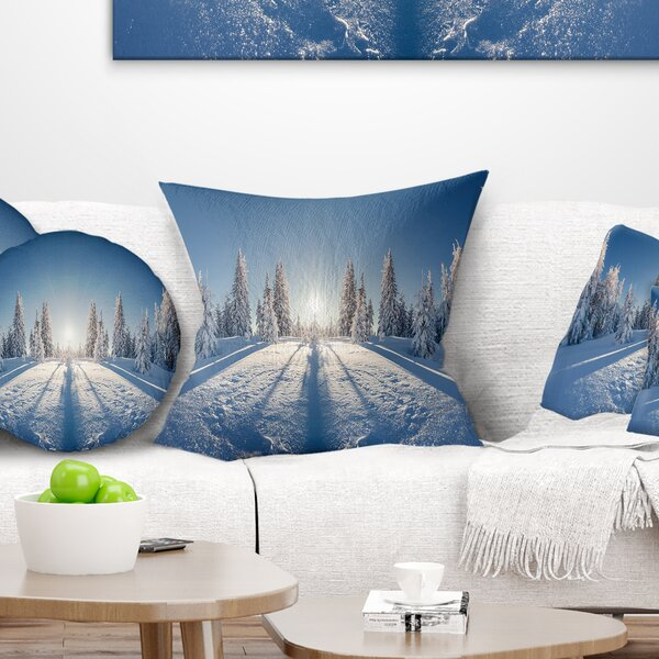 Printed Majestic Winter Landscape Pillow by East Urban Home