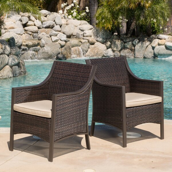 Liggins Patio Dining Chair with Cushion (Set of 2) by Brayden Studio