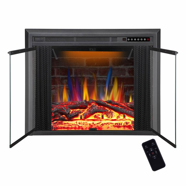 Quinlan Traditional Antiqued Stove Heater Recessed Wall Mounted Electric Fireplace Insert by Charlton Home Charlton Home
