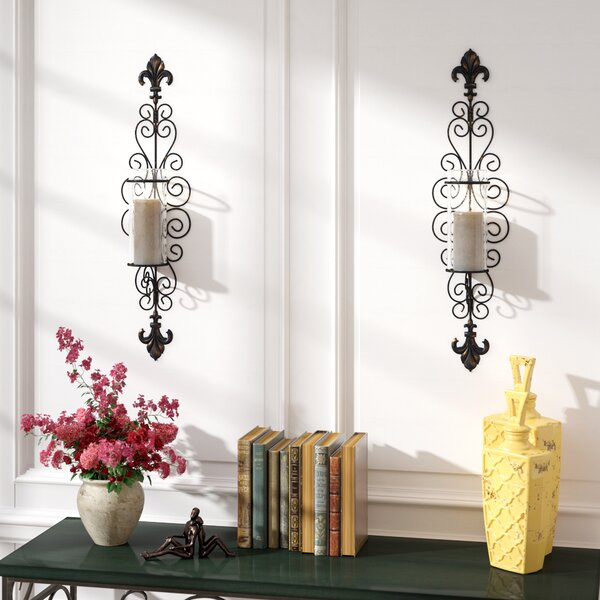 Della Corte Wall Sconce Candle Holders (Set of 2) by Fleur De Lis Living
