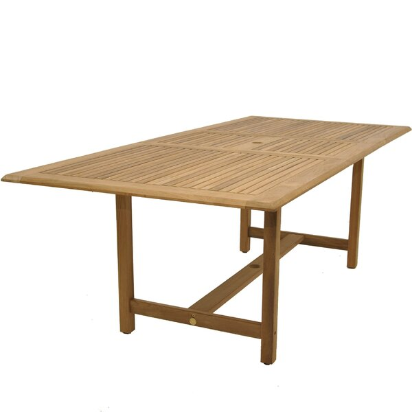 Bridgepointe Contemporary Rectangle Teak Dining Table by Rosecliff Heights